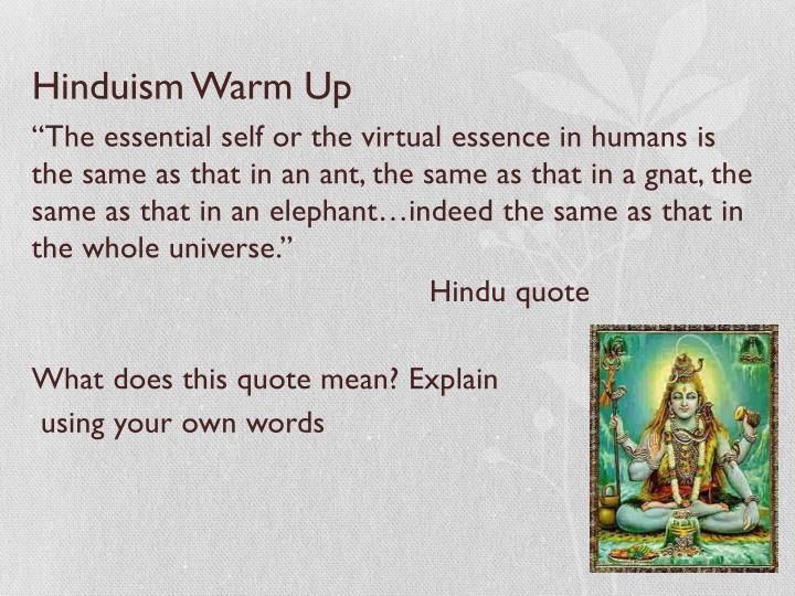 Hinduism Warm Up