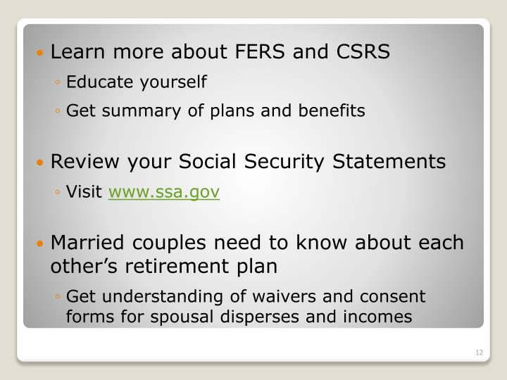 Learn more about FERS and CSRS