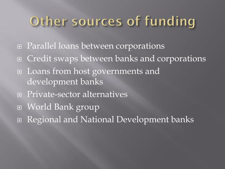 Other sources of funding