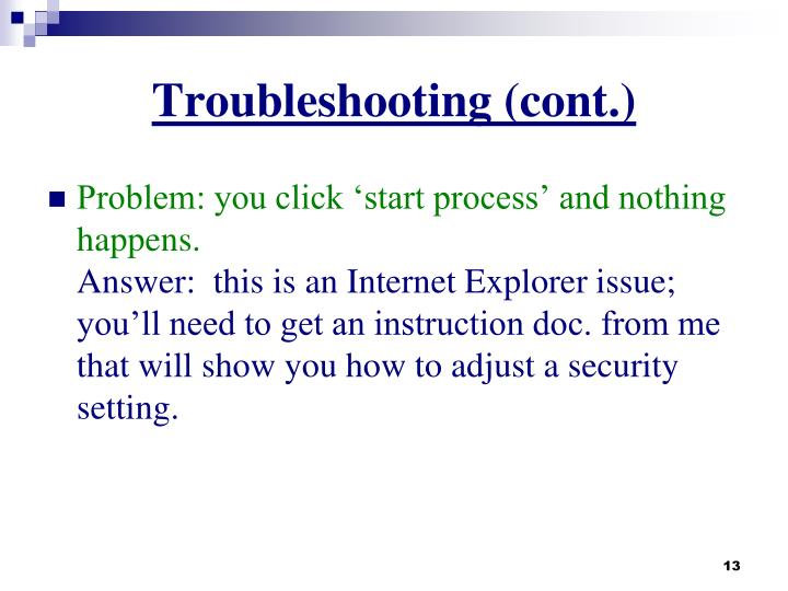 Troubleshooting (cont.)