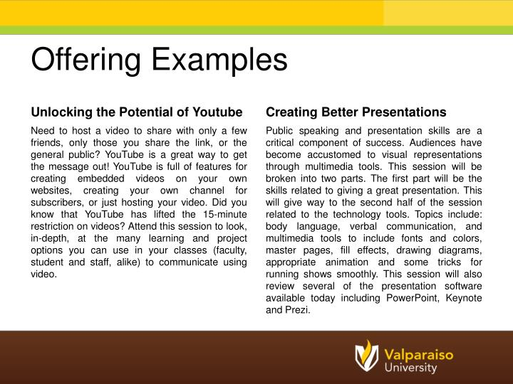 Offering Examples