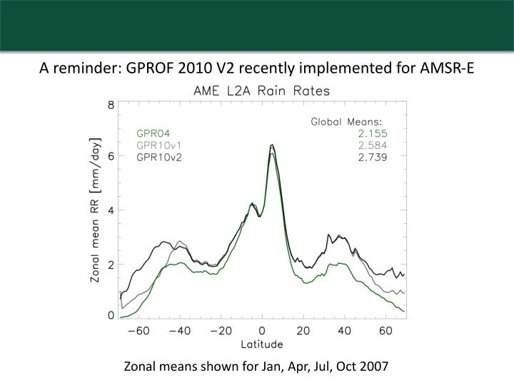 A reminder: GPROF 2010 V2 recently implemented for AMSR-E