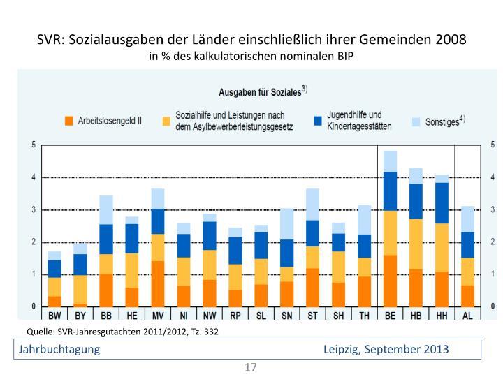 SVR: Sozialausgaben der Länder einschließlich ihrer Gemeinden 2008