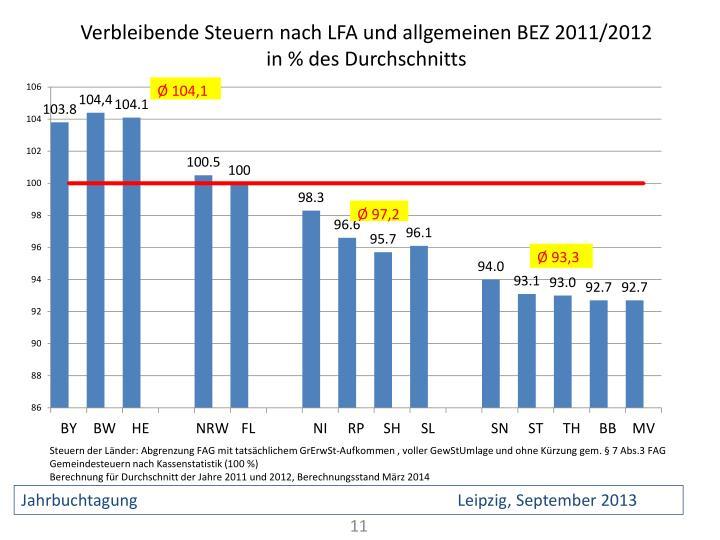 Verbleibende Steuern nach LFA und allgemeinen BEZ 2011/2012