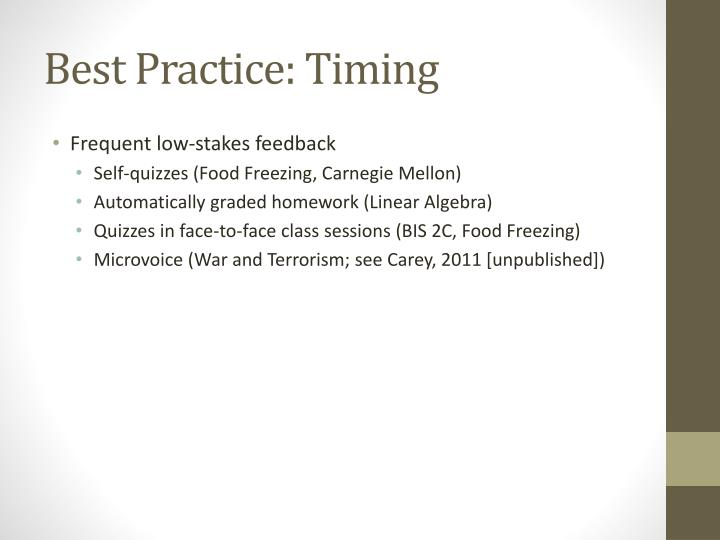Best Practice: Timing
