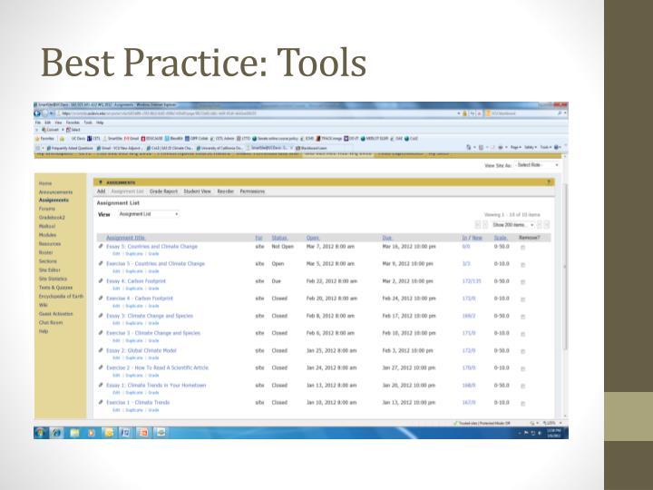 Best Practice: Tools