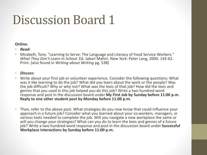 Discussion Board 1