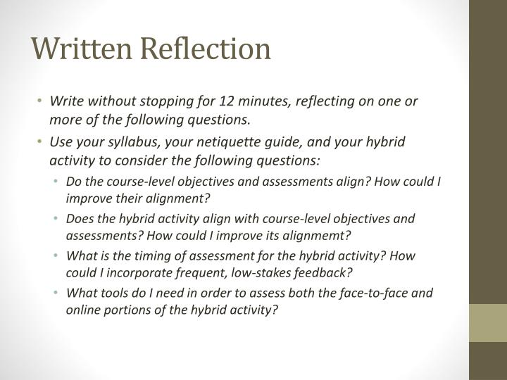 Written Reflection