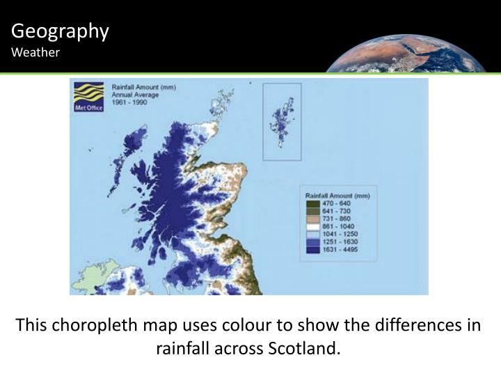 This choropleth map uses colour to show the differences in rainfall across scotland