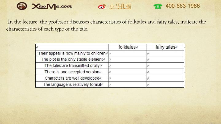 In the lecture, the professor discusses characteristics of folktales and fairy tales, indicate the characteristics of each type of the tale.