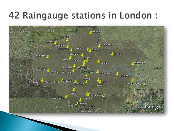 42 raingauge stations in london