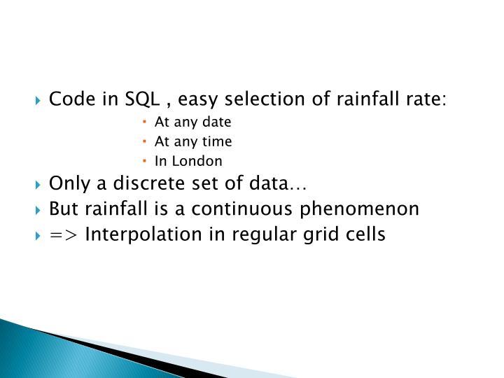Code in SQL ,