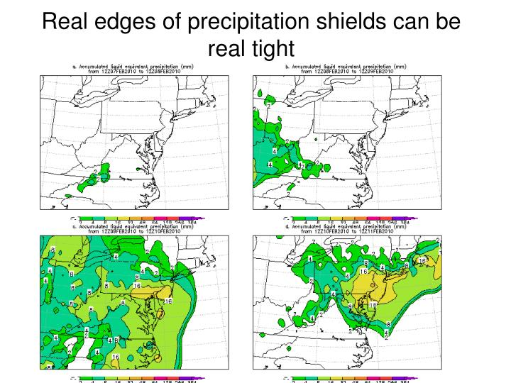 Real edges of precipitation shields can be real tight