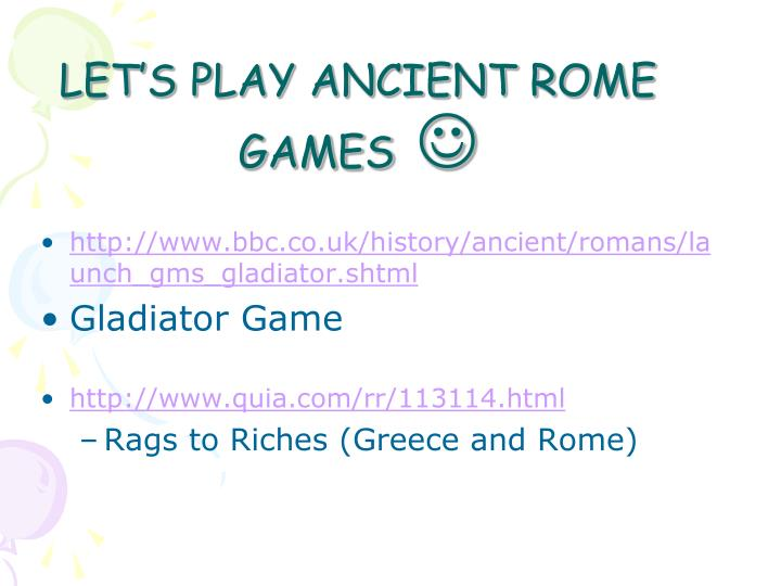 LET'S PLAY ANCIENT ROME GAMES