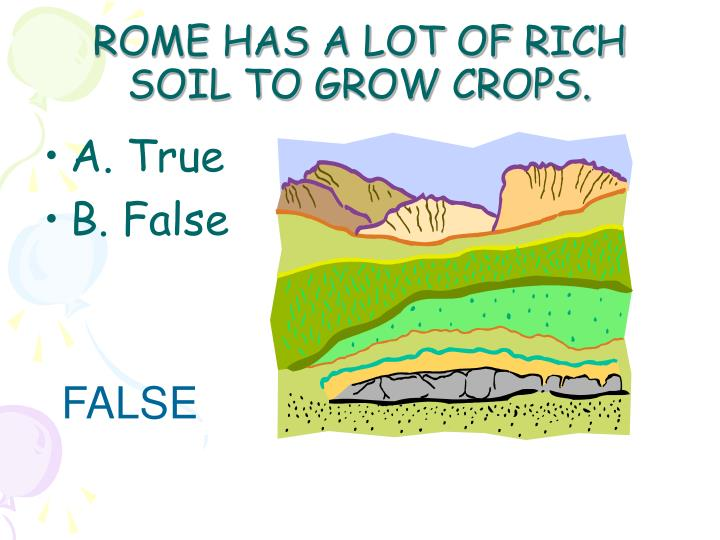 ROME HAS A LOT OF RICH SOIL TO GROW CROPS.