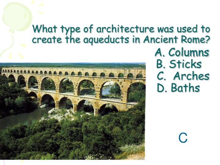 What type of architecture was used to create the aqueducts in Ancient Rome?