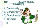 the games began in greece