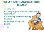 what does agriculture mean