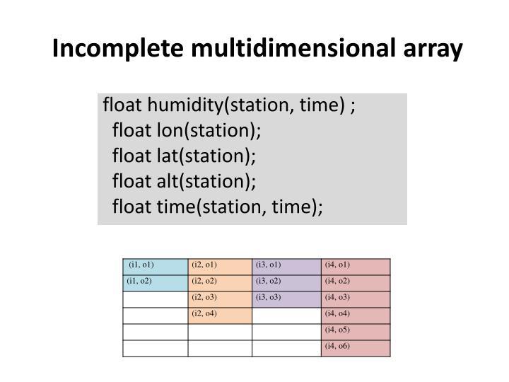 Incomplete multidimensional array