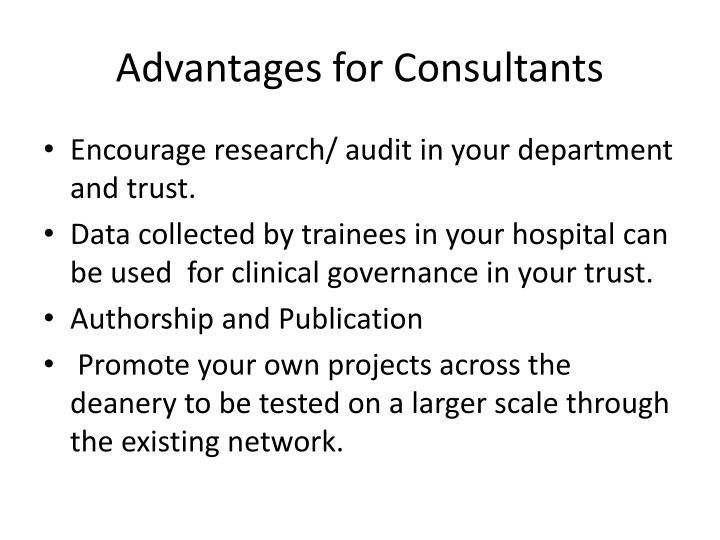 Advantages for Consultants