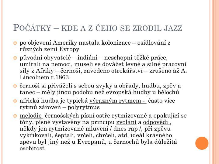 Počátky – kde a z čeho se zrodil jazz