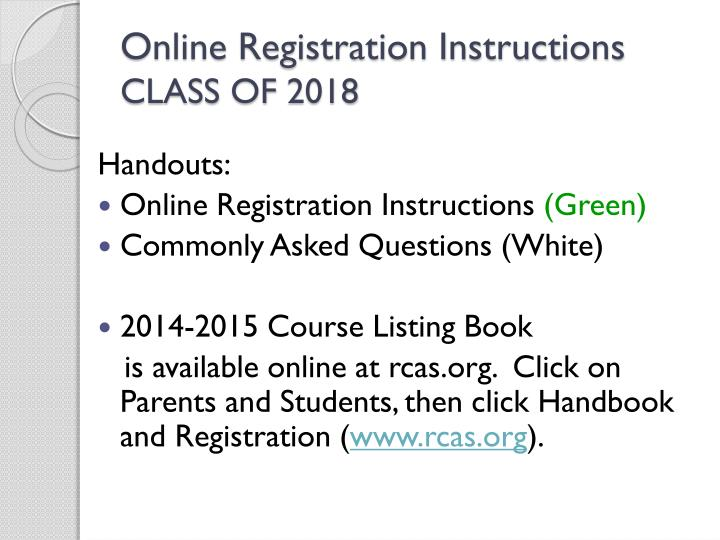 Online Registration Instructions