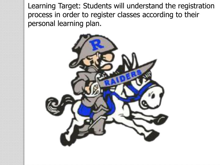 Learning Target: Students will understand the registration process in order to register classes according to their personal learning plan.