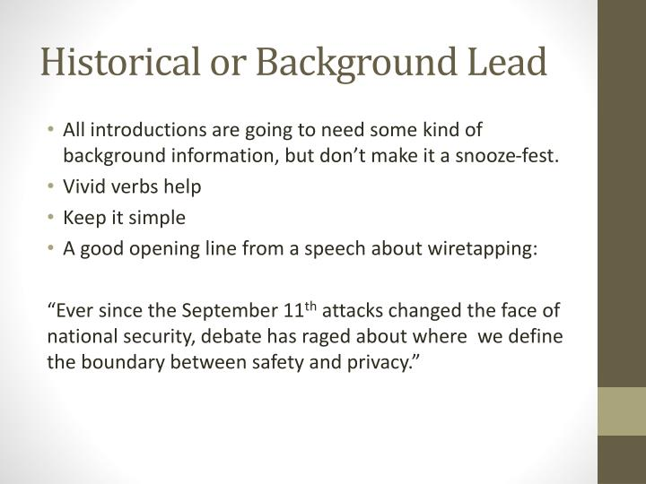 Historical or Background Lead