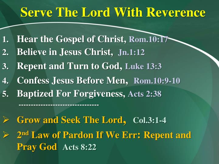 Serve The Lord With Reverence