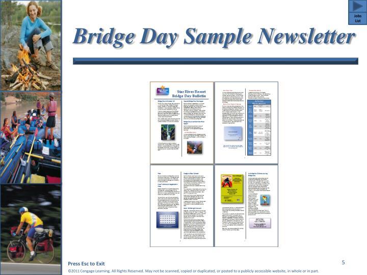 Bridge Day Sample Newsletter