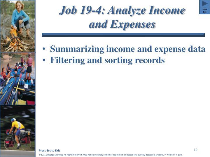 Job 19-4: Analyze Income