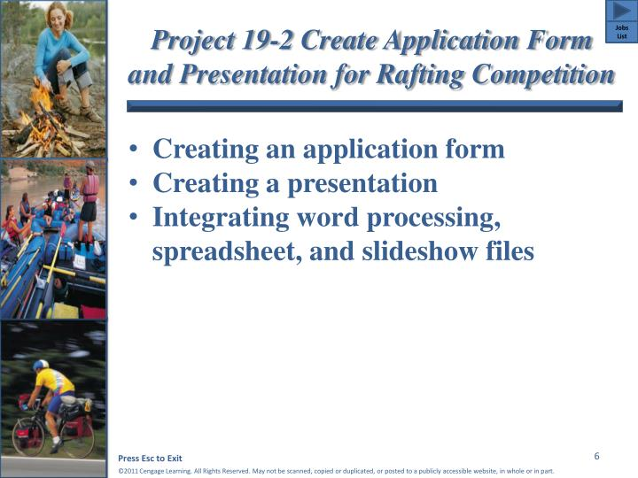Project 19-2 Create Application Form