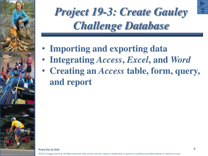 Project 19-3: Create Gauley Challenge Database