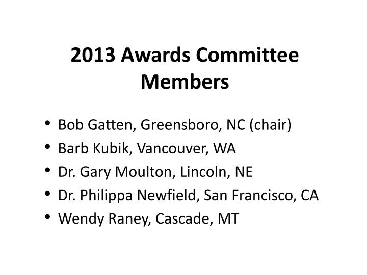 2013 awards committee members