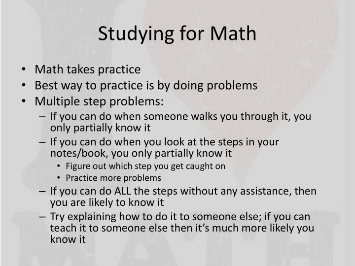 Studying for Math