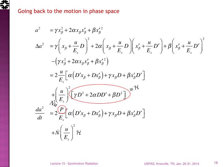 Going back to the motion in phase space