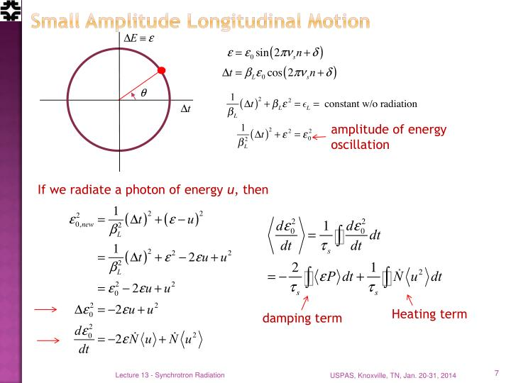 Small Amplitude Longitudinal Motion
