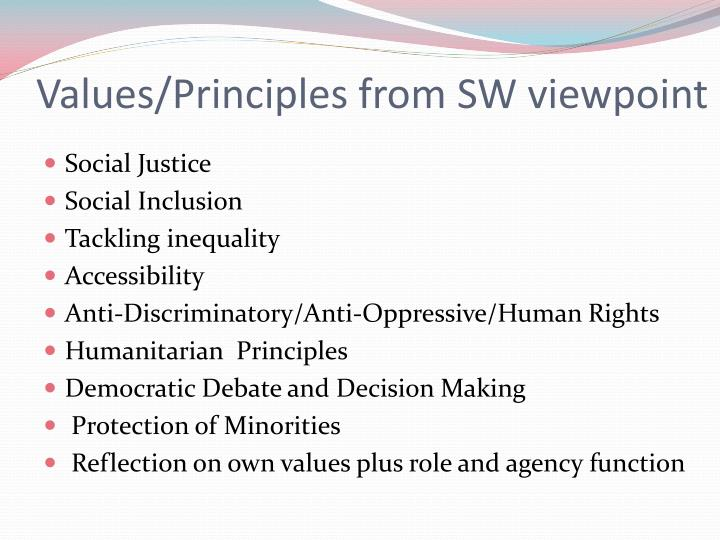 Values/Principles from SW viewpoint