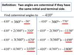 definition two angles are coterminal if they have the same initial and terminal side