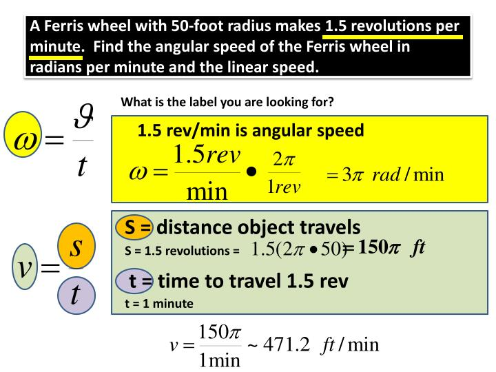 A Ferris wheel with 50-foot radius makes 1.5 revolutions per minute.  Find the angular speed of the Ferris wheel in radians per minute and the linear speed.