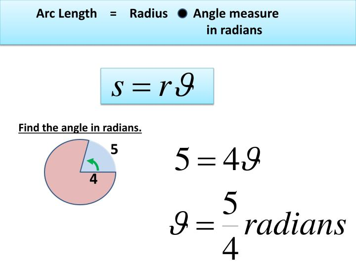 Arc Length    =    Radius        Angle measure