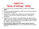expert on rules of setting 1950s