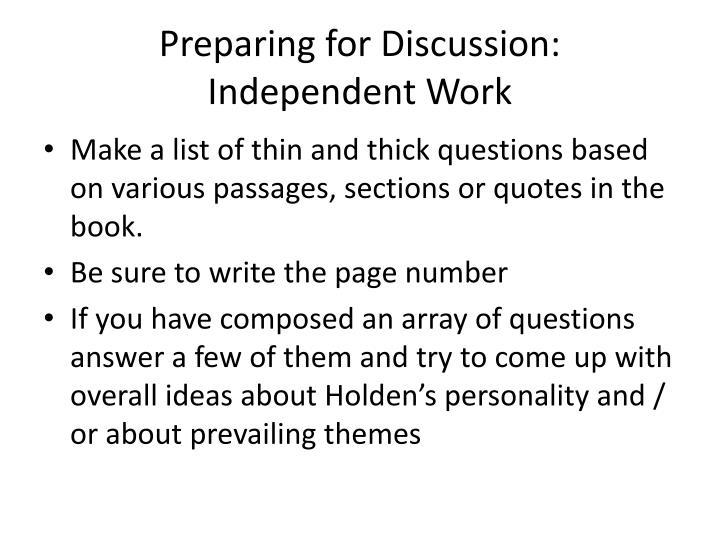Preparing for Discussion: