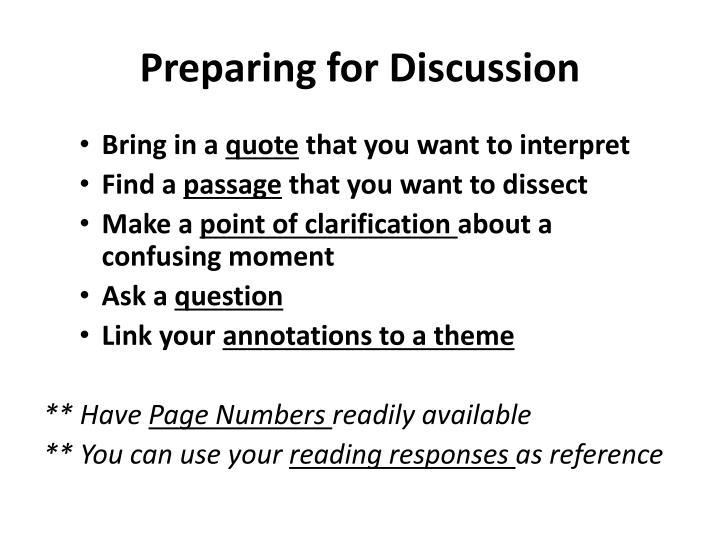 Preparing for Discussion
