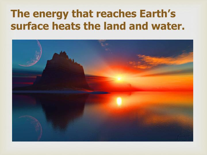 The energy that reaches Earth's surface heats the land and water.