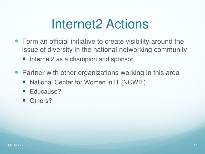 Internet2 Actions
