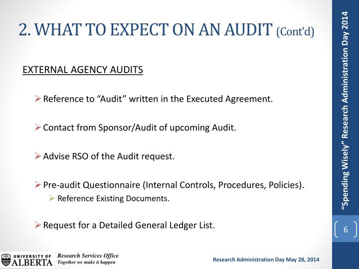 2. WHAT TO EXPECT ON AN AUDIT