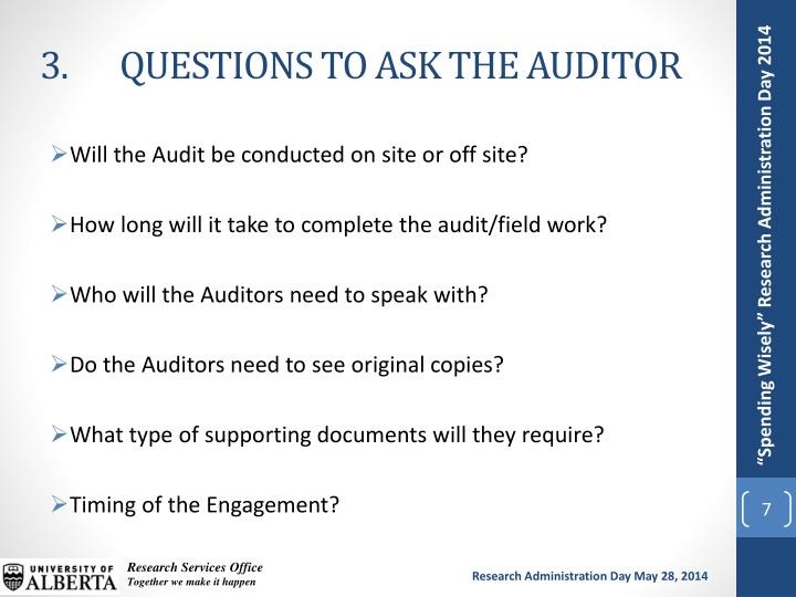3. 	QUESTIONS TO ASK THE AUDITOR