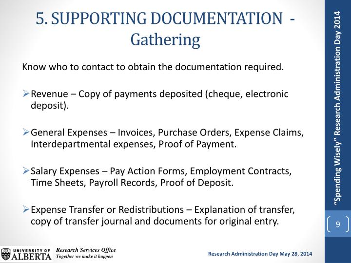 5. SUPPORTING DOCUMENTATION  - Gathering