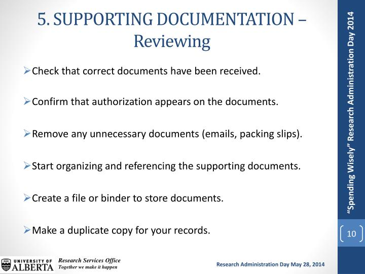 5. SUPPORTING DOCUMENTATION – Reviewing